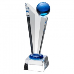 11in Clear & Blue Globe Award JB2030