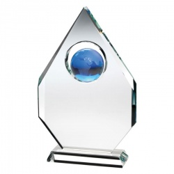 9in Clear & Blue Glass Globe Plaque