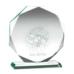 Facetted Octagon Award in 15mm Jade Glass