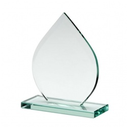 6in Teardrop Award in 10mm Jade Glass