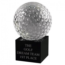 5.25in Crystal Glass Golf Ball Award