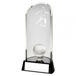 9in Glass Football Column Award