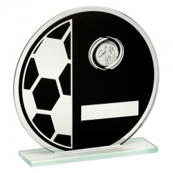 5.25in Glass Circle Football Plaque TD421