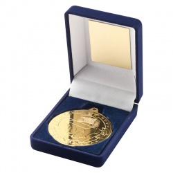 Gold Football Medal In Blue Box