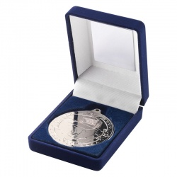 Silver Football Medal In Blue Box