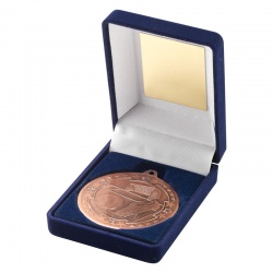 Bronze Football Medal In Blue Box