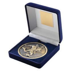 4in Gold Football Medal In Blue Box