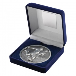 4in Silver Football Medal In Blue Box