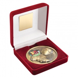 4in Gold Football Medal In Red Box