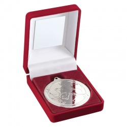 Silver Football Medal In Red Box