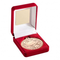 Bronze Martial Arts Medal in Red Presentation Case