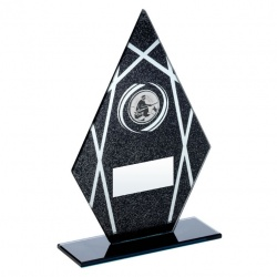 Angling Diamond Peak Glass Plaque in Black & Silver