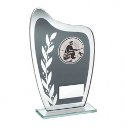 Angling Trophy Plaque in Grey & Silver Glass