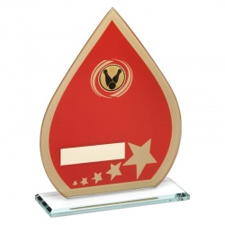 Tenpin Bowling Red Teardrop Glass Plaque