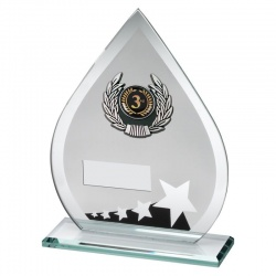 6.5in Jade Black & Silver Glass 3rd Place Plaque