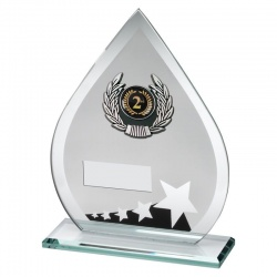 7.25in Jade Black & Silver Glass 2nd Place Plaque