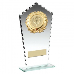 7in Jade Glass Chipped Edge Award with Gold Trims