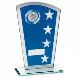 8in Blue & Silver Glass Hockey Plaque