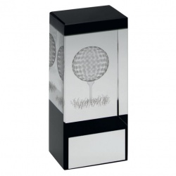Clear & Black Glass Block with Golf Motif