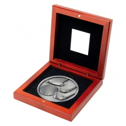 4.5in Silver Golf Medal In Wood Box