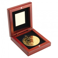 3.75in Gold Golf Medal In Wood Box