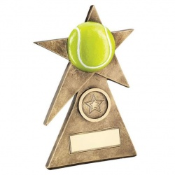 Tennis Star on Pyramid Base Trophy