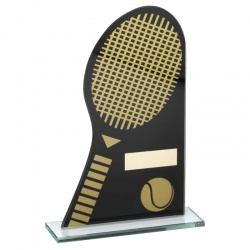Tennis Glass Awards Plaque in Black & Gold