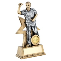 Resin Silver & Bronze Mens Darts Figure Trophy
