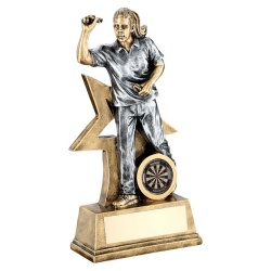 Resin Silver & Bronze Womens Darts Figure Trophy