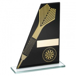 Darts Black & Gold Glass Plaque Award