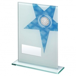 Jade Glass Blue Star Darts Plaque