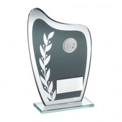 Athletics Glass Plaque Trophy in Grey & Silver