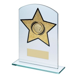 Athletics Gold Star Glass Plaque Trophy
