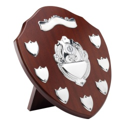 11in Wooden Awards Plaque with 7 Side Shields