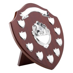 12.75in Wooden Awards Plaque with 9 Side Shields