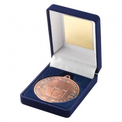Bronze Rugby Medal With Case