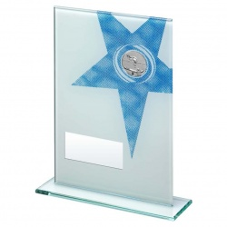 Pool Snooker Glass Plaque with Blue Star