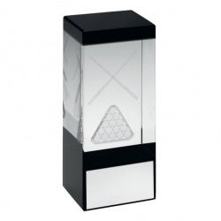 Clear & Black Glass Block with Pool or Snooker Motif