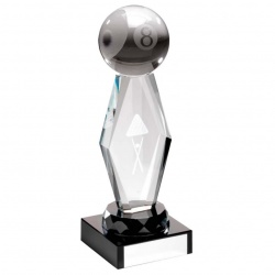 Clear & Black Glass Pool Trophy