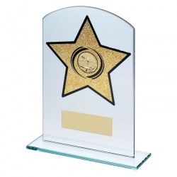 Pool Snooker Gold Star Glass Plaque