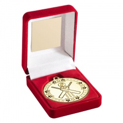 Gold Cricket Medal With Case