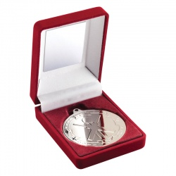 Silver Cricket Medal with Case