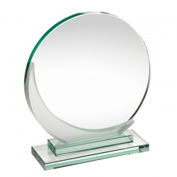 Jade Glass Circle Plaque with Crescent