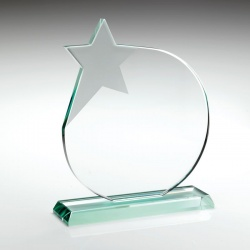 6.75in Glass Circle Plaque With Star