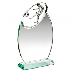 10in Oval Glass Footballer Plaque