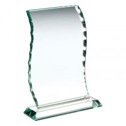 7.5in Jade Glass Wavy Chipped Edge Plaque