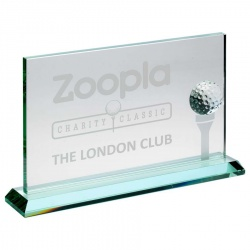 Glass Golf Plaque with 3D Golf Ball