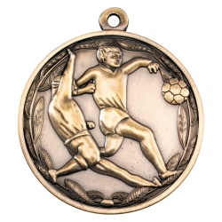 50mm Football Players Medal in Antique Gold