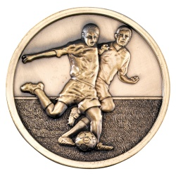 70mm Football Players Medal in Antique Gold