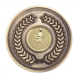 70mm Antique Gold Athletics Male Track Laurel Wreath Medal